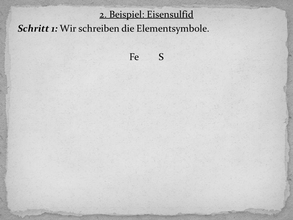 Schritt 1: Wir schreiben die Elementsymbole. FeS
