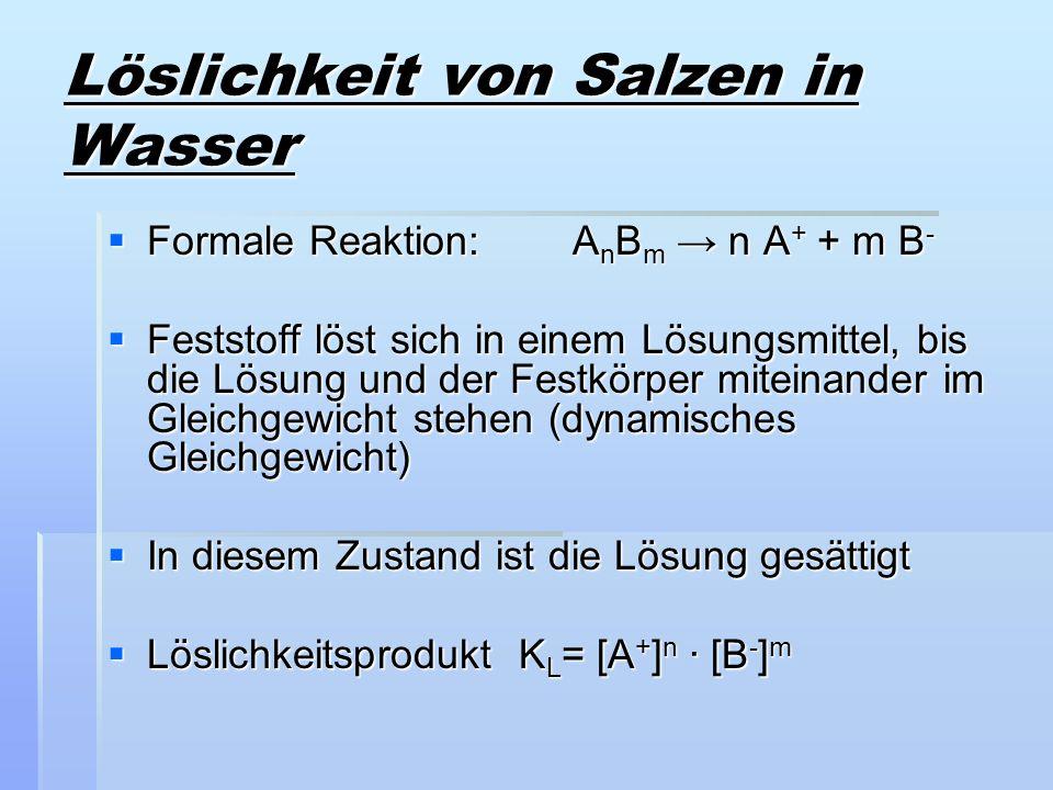 Löslichkeit von Salzen in Wasser Formale Reaktion: A n B m n A + + m B - Formale Reaktion: A n B m n A + + m B - Feststoff löst sich in einem Lösungsm