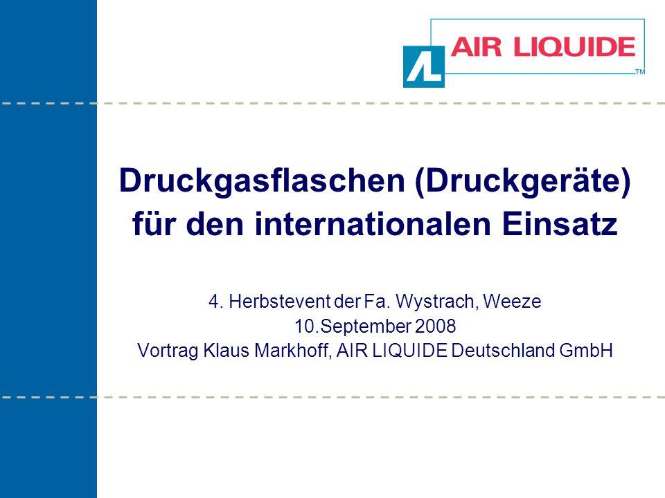 Weltmarktführer für technische und medizinische Gase 12 Druckgasflaschen (Druckgeräte) für den internationalen Einsatz Stempelbild einer mit π - gestempelten Druckgasflasche