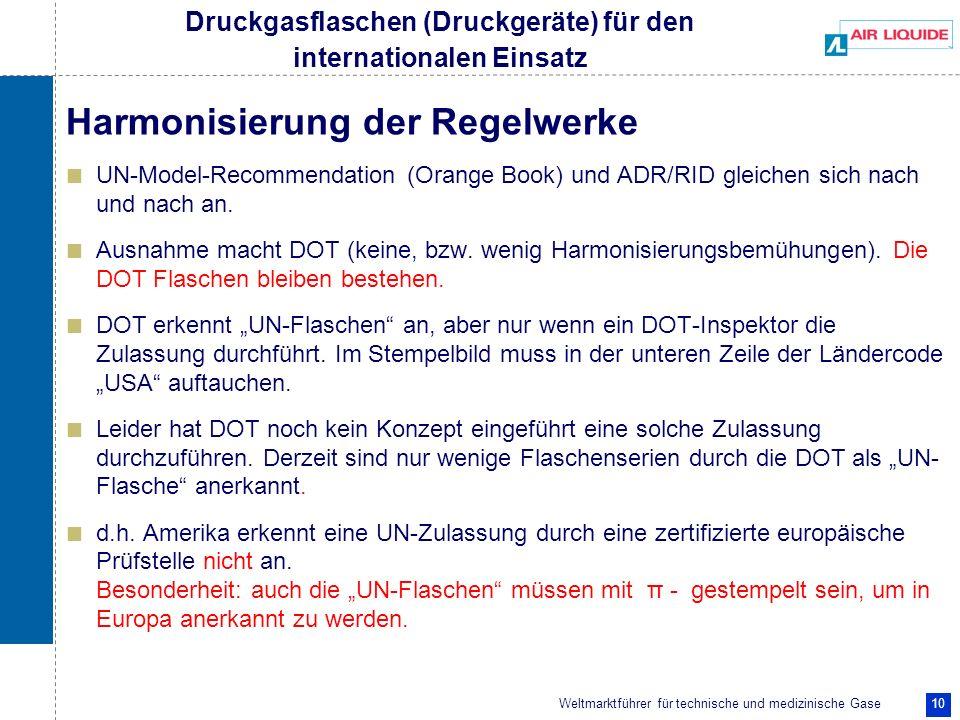 Weltmarktführer für technische und medizinische Gase 10 Harmonisierung der Regelwerke UN-Model-Recommendation (Orange Book) und ADR/RID gleichen sich