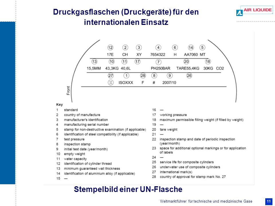 Weltmarktführer für technische und medizinische Gase 11 Druckgasflaschen (Druckgeräte) für den internationalen Einsatz Stempelbild einer UN-Flasche