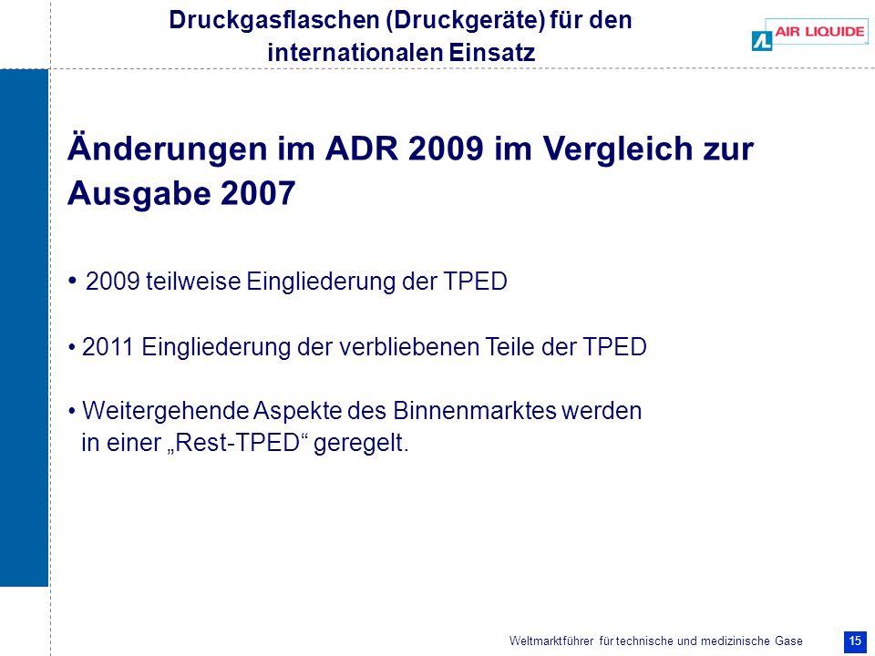 Weltmarktführer für technische und medizinische Gase 15 Druckgasflaschen (Druckgeräte) für den internationalen Einsatz Änderungen im ADR 2009 im Vergl
