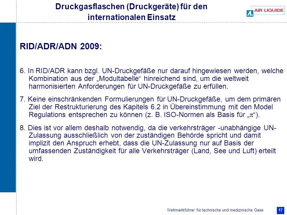Weltmarktführer für technische und medizinische Gase 17 RID/ADR/ADN 2009: 6. In RID/ADR kann bzgl. UN-Druckgefäße nur darauf hingewiesen werden, welch
