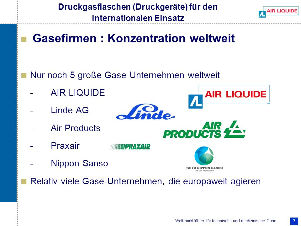 Weltmarktführer für technische und medizinische Gase 14 Nationaler + Internationaler Einsatz und Normen Druckgas-Flaschen für den nationalen Einsatz : TRG + π-Kennzeichen (nach Konformitätsprüfung + wiederk.