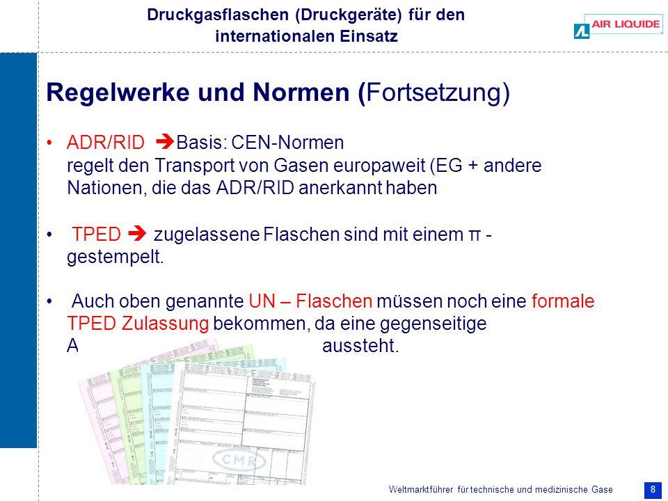 Weltmarktführer für technische und medizinische Gase 8 Druckgasflaschen (Druckgeräte) für den internationalen Einsatz Regelwerke und Normen (Fortsetzu