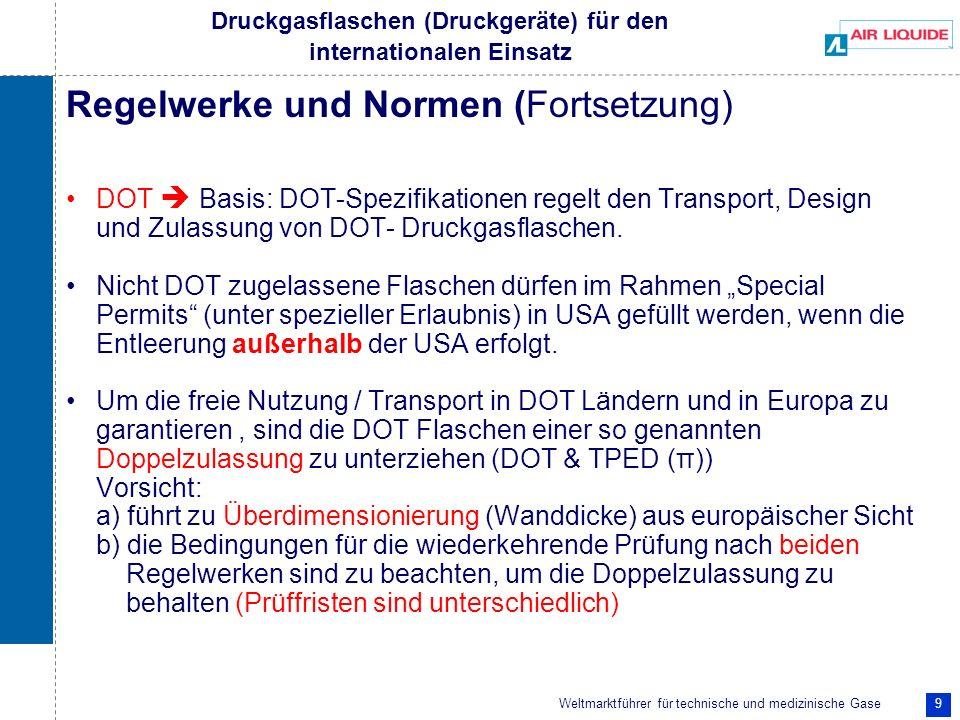 Weltmarktführer für technische und medizinische Gase 9 Druckgasflaschen (Druckgeräte) für den internationalen Einsatz Regelwerke und Normen (Fortsetzu