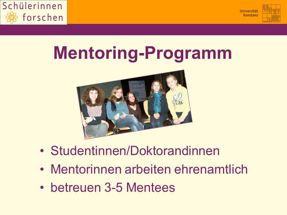 Mentoring-Programm Studentinnen/Doktorandinnen Mentorinnen arbeiten ehrenamtlich betreuen 3-5 Mentees