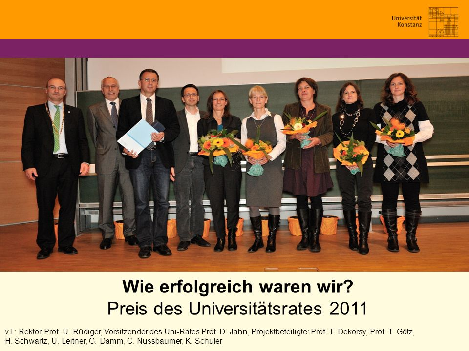Wie erfolgreich waren wir? Preis des Universitätsrates 2011 v.l.: Rektor Prof. U. Rüdiger, Vorsitzender des Uni-Rates Prof. D. Jahn, Projektbeteiligte