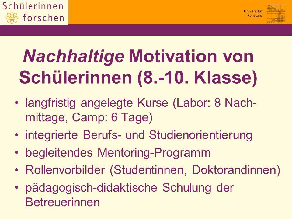 Nachhaltige Motivation von Schülerinnen (8.-10. Klasse) langfristig angelegte Kurse (Labor: 8 Nach- mittage, Camp: 6 Tage) integrierte Berufs- und Stu