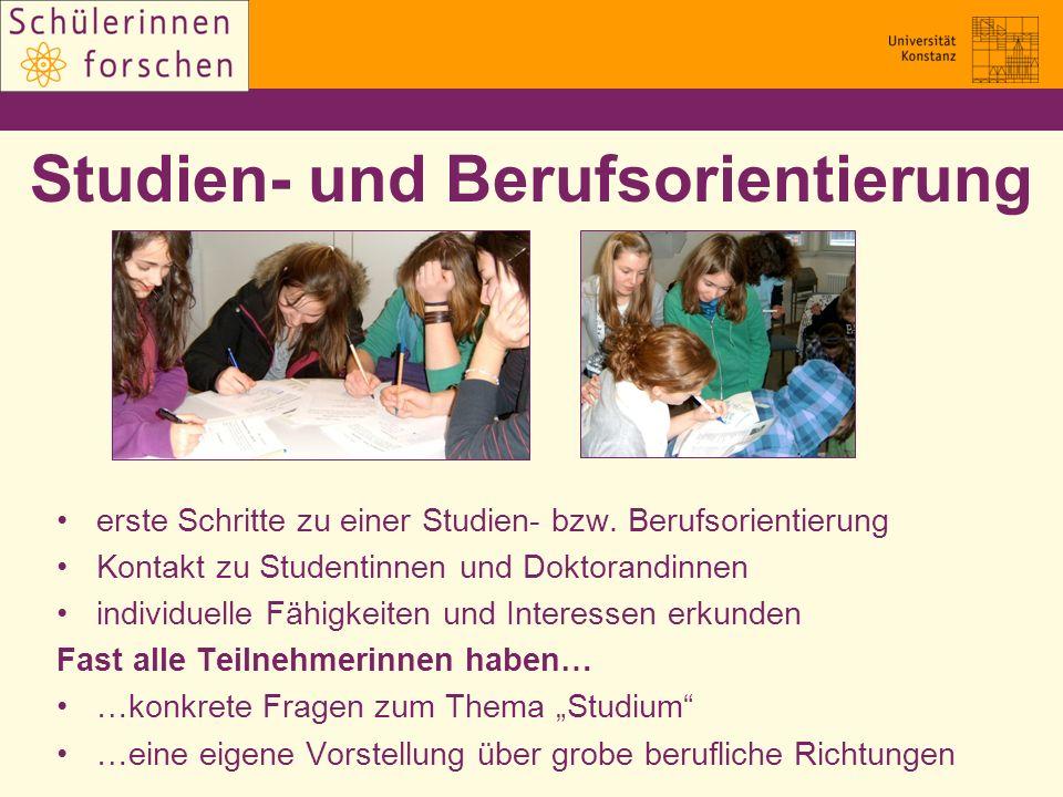 Studien- und Berufsorientierung erste Schritte zu einer Studien- bzw. Berufsorientierung Kontakt zu Studentinnen und Doktorandinnen individuelle Fähig