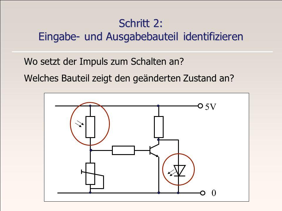 Schritt 2: Eingabe- und Ausgabebauteil identifizieren Wo setzt der Impuls zum Schalten an? Welches Bauteil zeigt den geänderten Zustand an? 5V 0