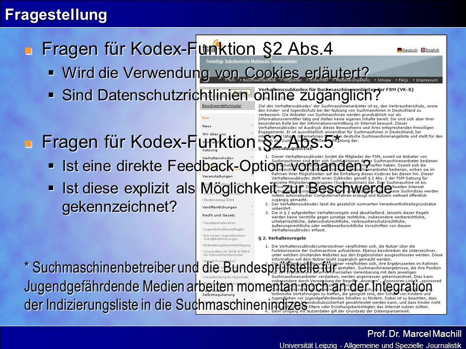 Prof. Dr. Marcel Machill Universität Leipzig - Allgemeine und Spezielle Journalistik Fragestellung Fragen für Kodex-Funktion §2 Abs.4 Fragen für Kodex