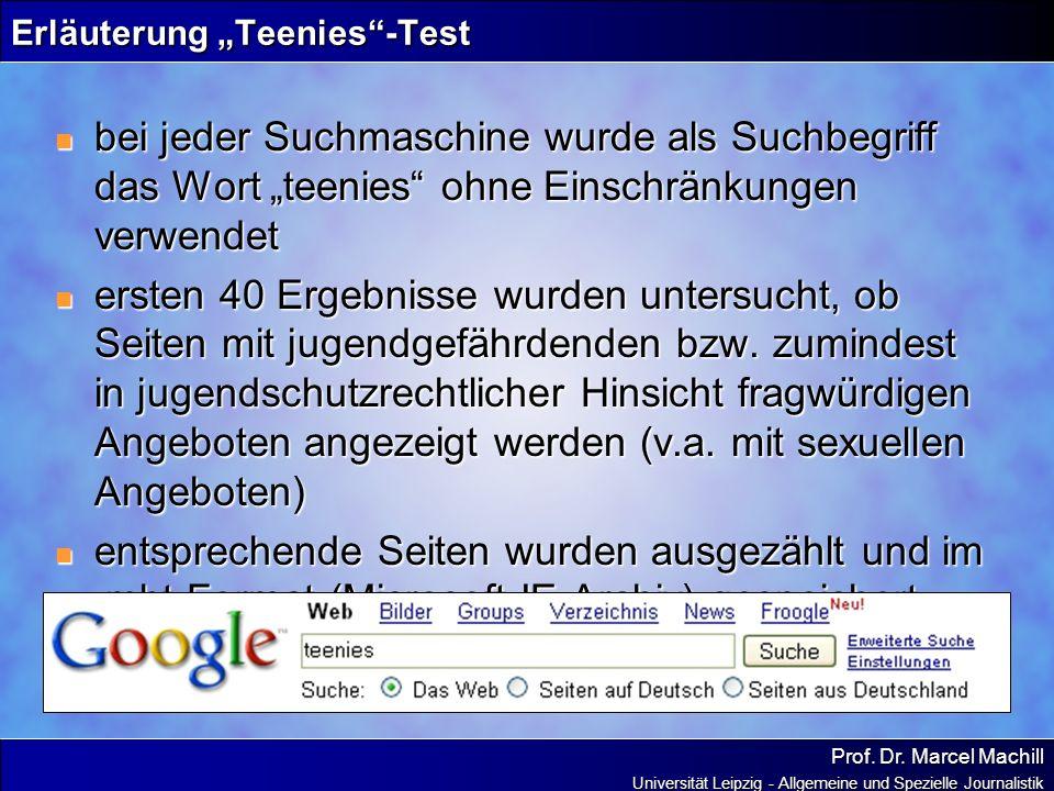 Prof. Dr. Marcel Machill Universität Leipzig - Allgemeine und Spezielle Journalistik Erläuterung Teenies-Test bei jeder Suchmaschine wurde als Suchbeg