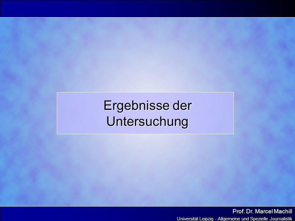 Prof. Dr. Marcel Machill Universität Leipzig - Allgemeine und Spezielle Journalistik Ergebnisse der Untersuchung