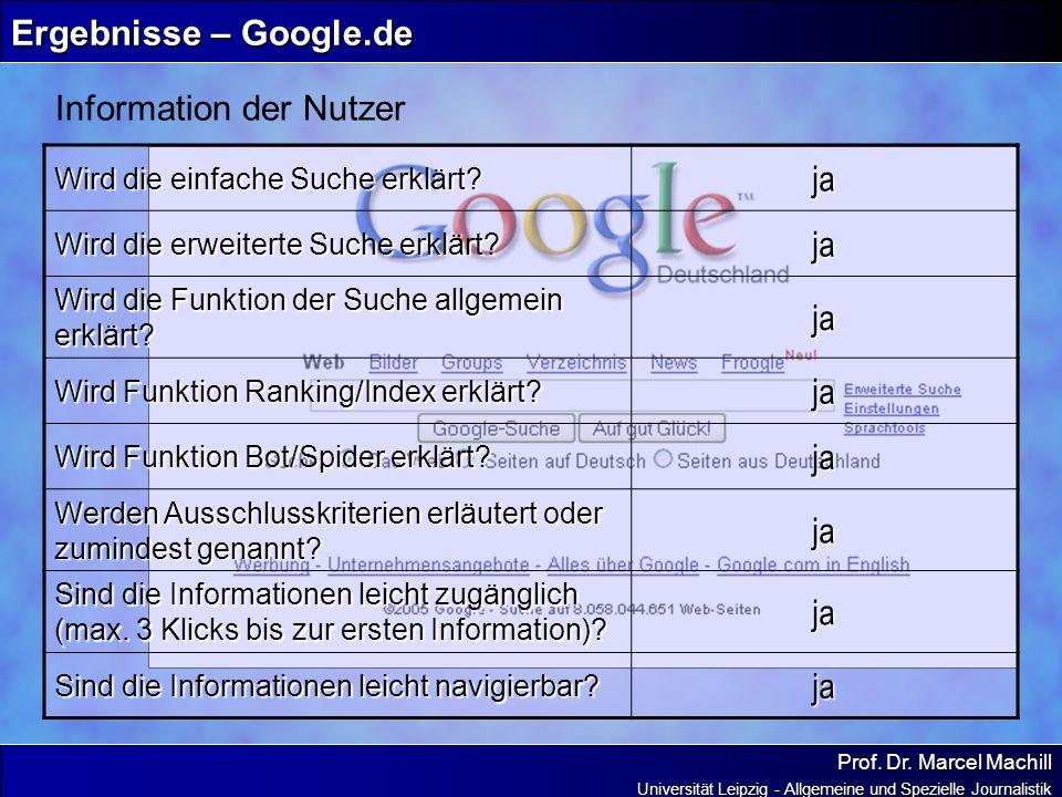 Prof. Dr. Marcel Machill Universität Leipzig - Allgemeine und Spezielle Journalistik Ergebnisse – Google.de Information der Nutzer Wird die einfache S