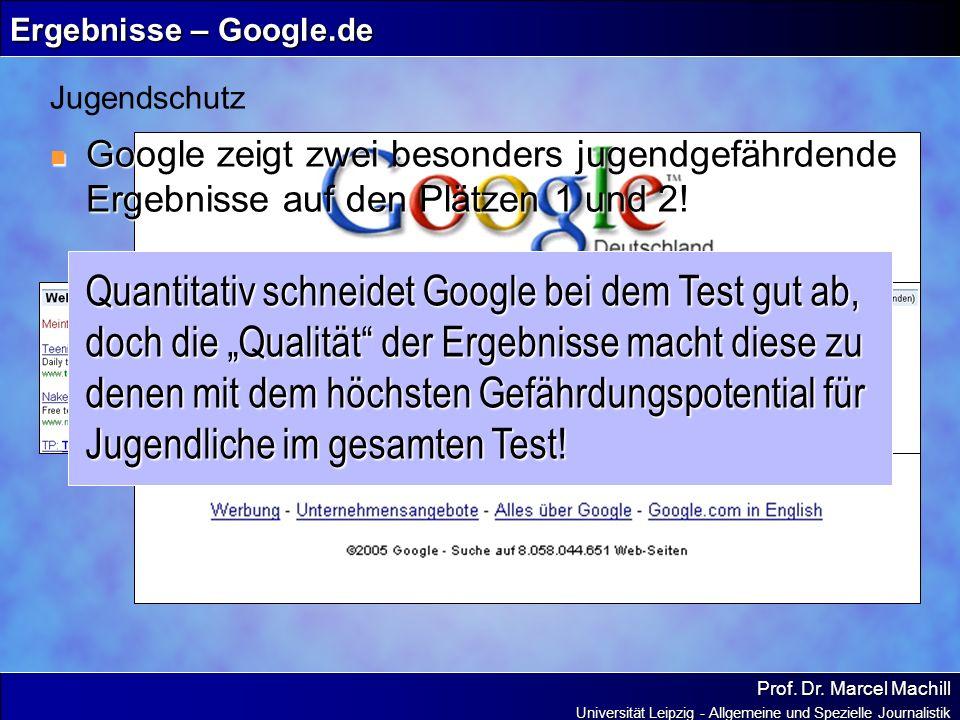 Prof. Dr. Marcel Machill Universität Leipzig - Allgemeine und Spezielle Journalistik Ergebnisse – Google.de Google zeigt zwei besonders jugendgefährde