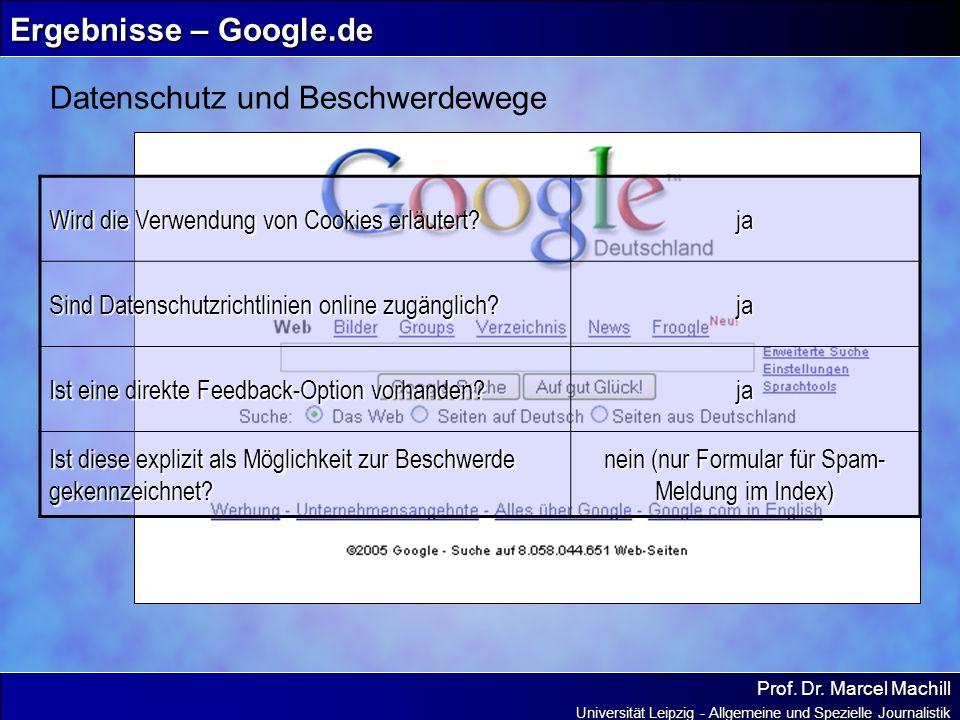 Prof. Dr. Marcel Machill Universität Leipzig - Allgemeine und Spezielle Journalistik Ergebnisse – Google.de Datenschutz und Beschwerdewege Wird die Ve