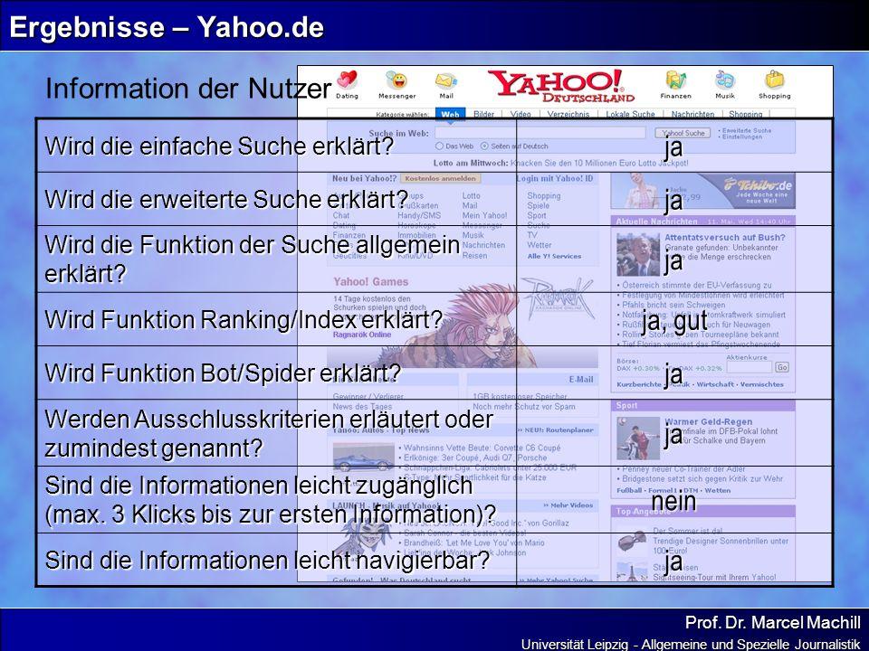 Prof. Dr. Marcel Machill Universität Leipzig - Allgemeine und Spezielle Journalistik Ergebnisse – Yahoo.de Information der Nutzer Wird die einfache Su