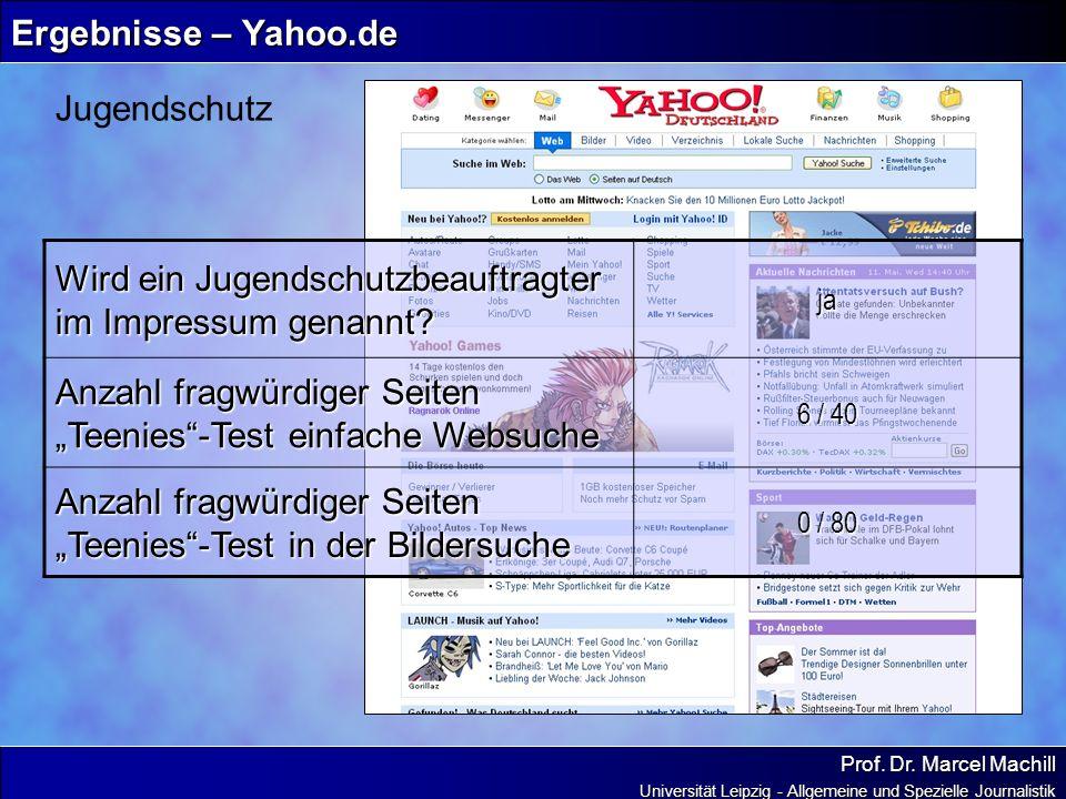 Prof. Dr. Marcel Machill Universität Leipzig - Allgemeine und Spezielle Journalistik Ergebnisse – Yahoo.de Jugendschutz Wird ein Jugendschutzbeauftrag