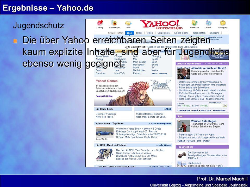 Prof. Dr. Marcel Machill Universität Leipzig - Allgemeine und Spezielle Journalistik Ergebnisse – Yahoo.de Die über Yahoo erreichbaren Seiten zeigten