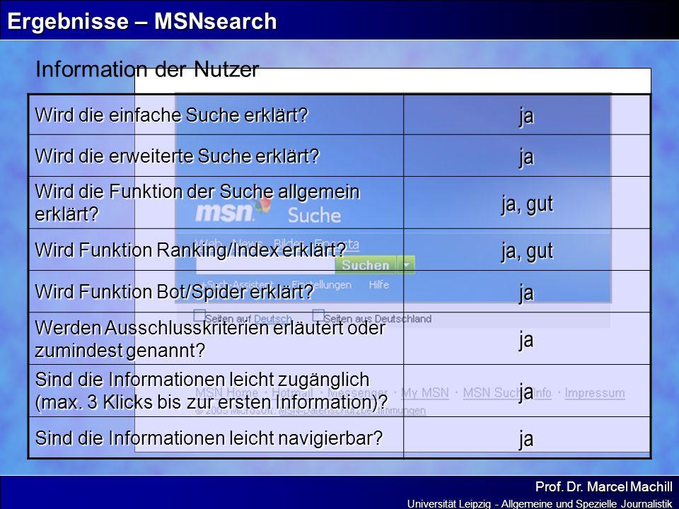 Prof. Dr. Marcel Machill Universität Leipzig - Allgemeine und Spezielle Journalistik Ergebnisse – MSNsearch Information der Nutzer Wird die einfache S