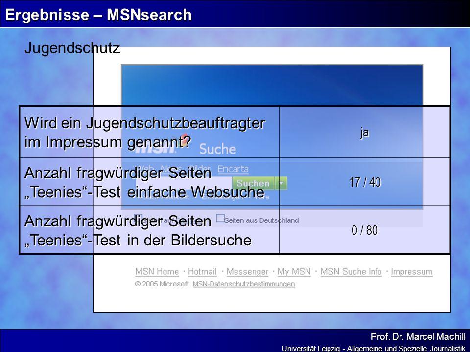 Prof. Dr. Marcel Machill Universität Leipzig - Allgemeine und Spezielle Journalistik Ergebnisse – MSNsearch Jugendschutz Wird ein Jugendschutzbeauftra