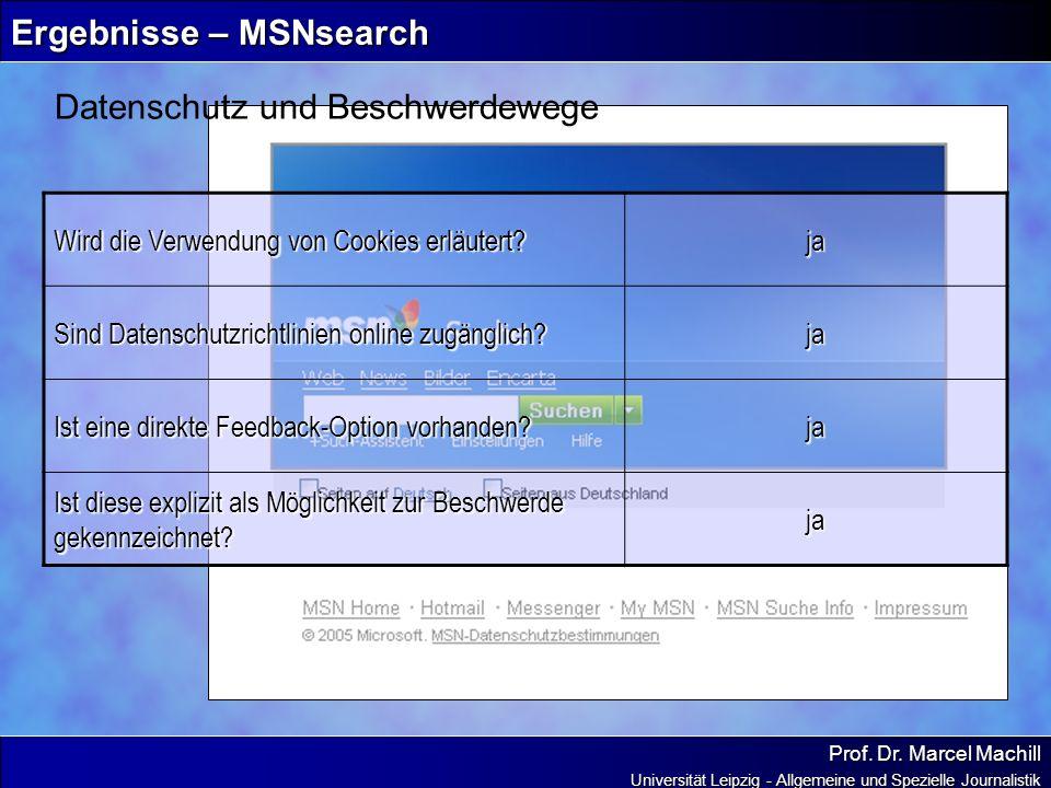 Prof. Dr. Marcel Machill Universität Leipzig - Allgemeine und Spezielle Journalistik Ergebnisse – MSNsearch Datenschutz und Beschwerdewege Wird die Ve