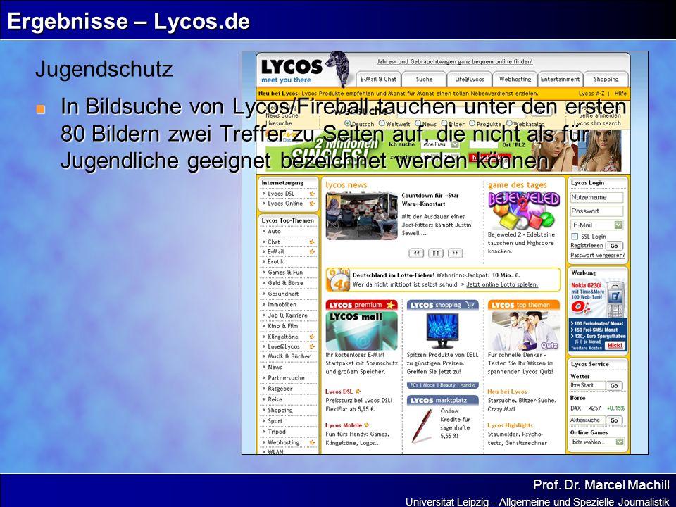 Prof. Dr. Marcel Machill Universität Leipzig - Allgemeine und Spezielle Journalistik Ergebnisse – Lycos.de In Bildsuche von Lycos/Fireball tauchen unt