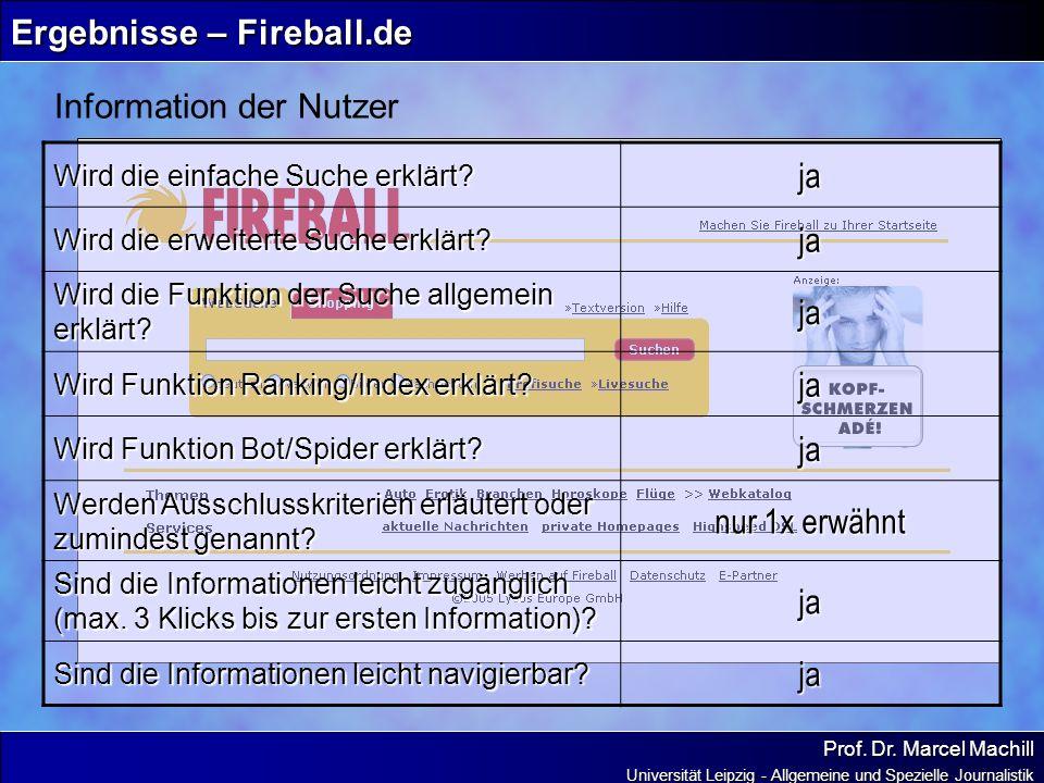 Prof. Dr. Marcel Machill Universität Leipzig - Allgemeine und Spezielle Journalistik Ergebnisse – Fireball.de Information der Nutzer Wird die einfache