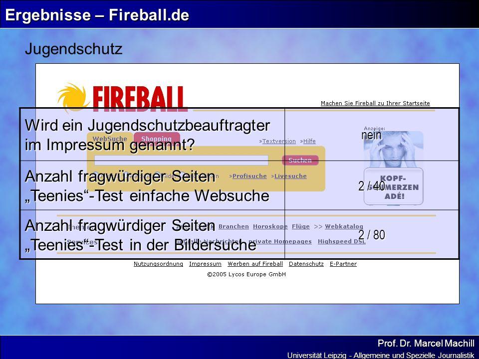Prof. Dr. Marcel Machill Universität Leipzig - Allgemeine und Spezielle Journalistik Ergebnisse – Fireball.de Jugendschutz Wird ein Jugendschutzbeauft
