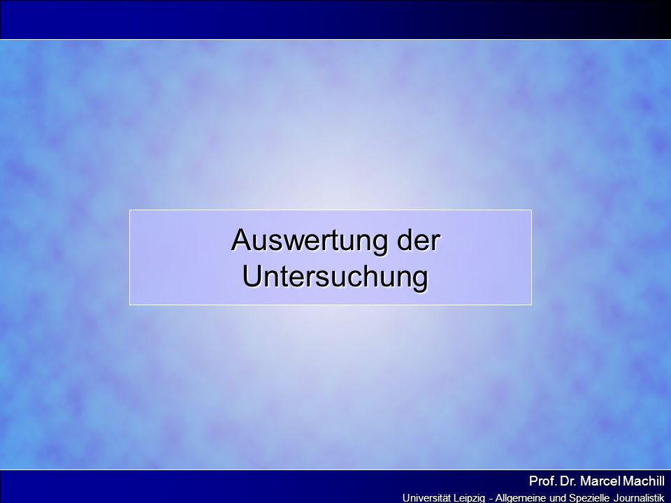 Prof. Dr. Marcel Machill Universität Leipzig - Allgemeine und Spezielle Journalistik Auswertung der Untersuchung