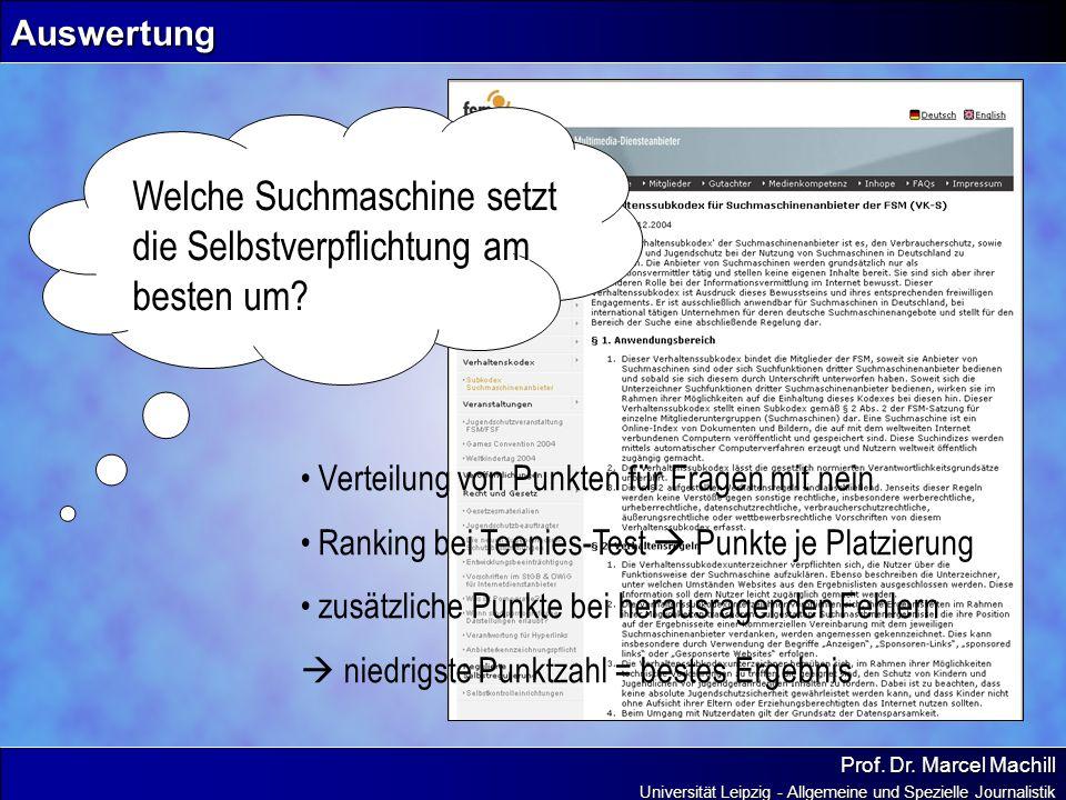 Prof. Dr. Marcel Machill Universität Leipzig - Allgemeine und Spezielle Journalistik Auswertung Welche Suchmaschine setzt die Selbstverpflichtung am b