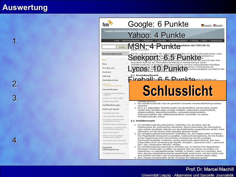 Prof. Dr. Marcel Machill Universität Leipzig - Allgemeine und Spezielle Journalistik Auswertung Google: 6 Punkte Yahoo: 4 Punkte MSN: 4 Punkte Seekpor