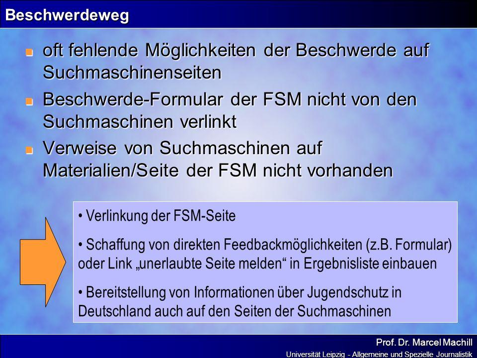 Prof. Dr. Marcel Machill Universität Leipzig - Allgemeine und Spezielle Journalistik Beschwerdeweg oft fehlende Möglichkeiten der Beschwerde auf Suchm