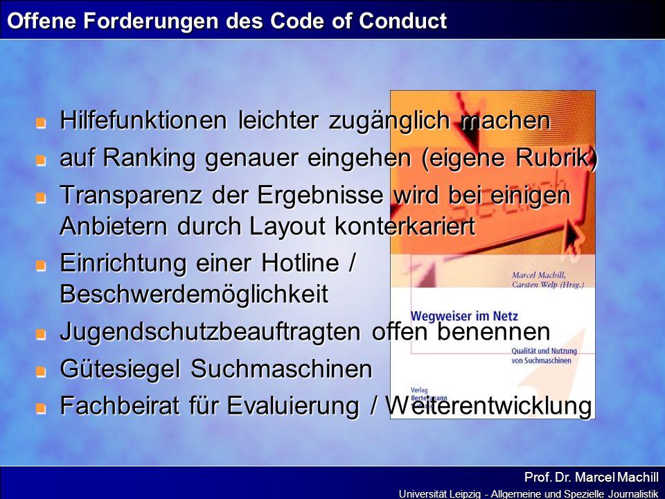 Prof. Dr. Marcel Machill Universität Leipzig - Allgemeine und Spezielle Journalistik Offene Forderungen des Code of Conduct Hilfefunktionen leichter z