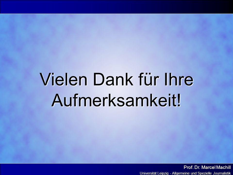 Prof. Dr. Marcel Machill Universität Leipzig - Allgemeine und Spezielle Journalistik Vielen Dank für Ihre Aufmerksamkeit!