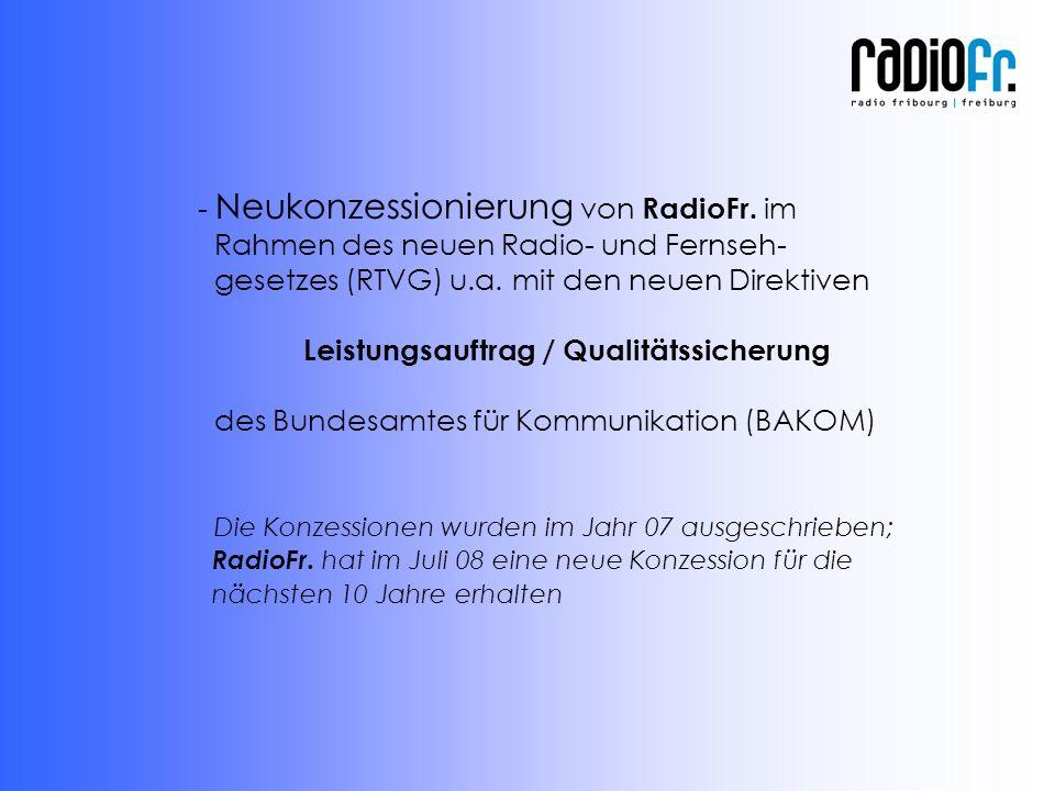- Neukonzessionierung von RadioFr. im Rahmen des neuen Radio- und Fernseh- gesetzes (RTVG) u.a.