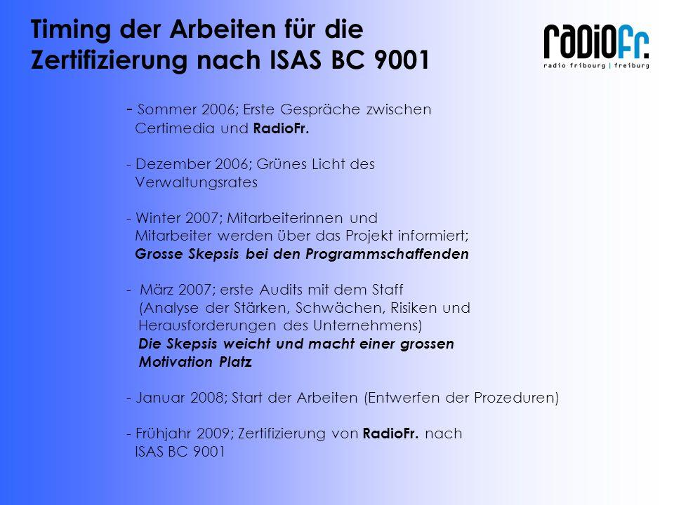 - Sommer 2006; Erste Gespräche zwischen Certimedia und RadioFr.