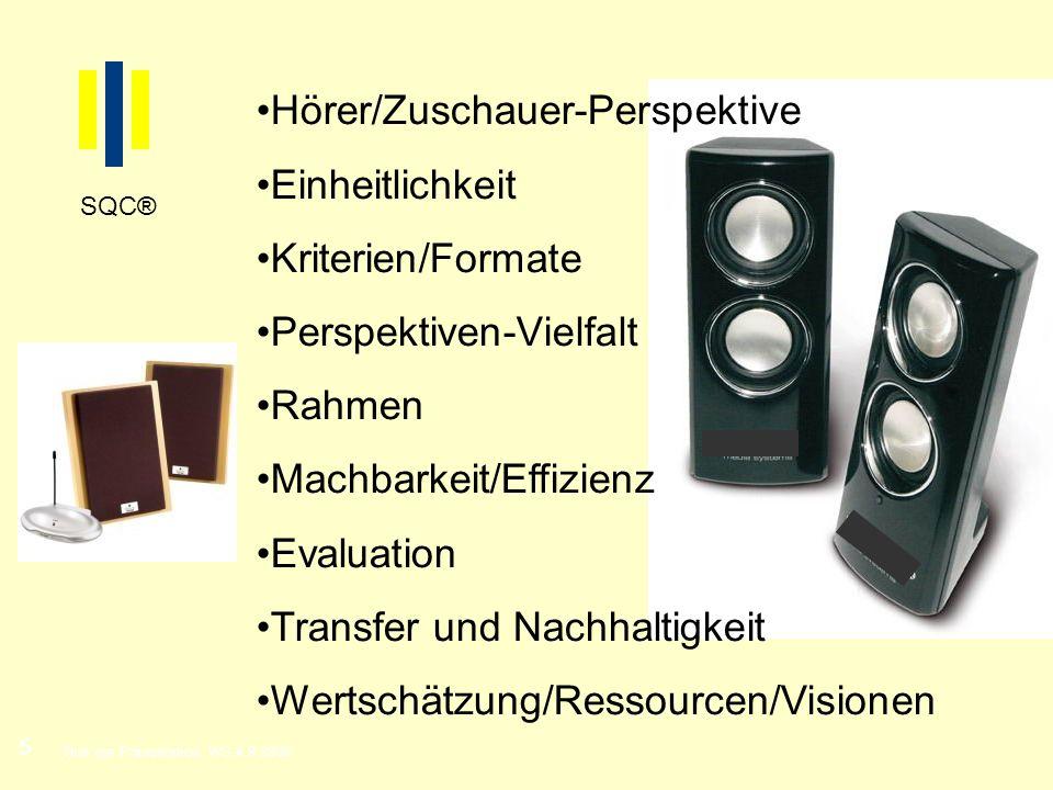 5 Titel der Präsentation, WS 4.9.2008 SQC® Hörer/Zuschauer-Perspektive Einheitlichkeit Kriterien/Formate Perspektiven-Vielfalt Rahmen Machbarkeit/Effi