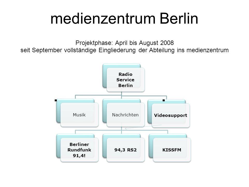 medienzentrum Berlin Projektphase: April bis August 2008 seit September vollständige Eingliederung der Abteilung ins medienzentrum Radio Service Berlin MusikNachrichten Berliner Rundfunk 91,4.