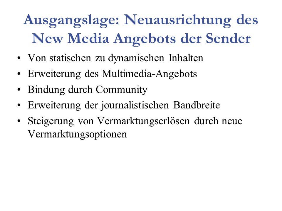 Ausgangslage: Neuausrichtung des New Media Angebots der Sender Von statischen zu dynamischen Inhalten Erweiterung des Multimedia-Angebots Bindung durch Community Erweiterung der journalistischen Bandbreite Steigerung von Vermarktungserlösen durch neue Vermarktungsoptionen