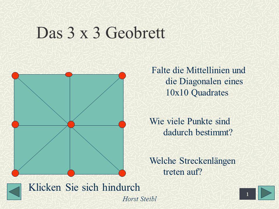 Horst Steibl 1 Das 3 x 3 Geobrett Falte die Mittellinien und die Diagonalen eines 10x10 Quadrates Wie viele Punkte sind dadurch bestimmt? Welche Strec