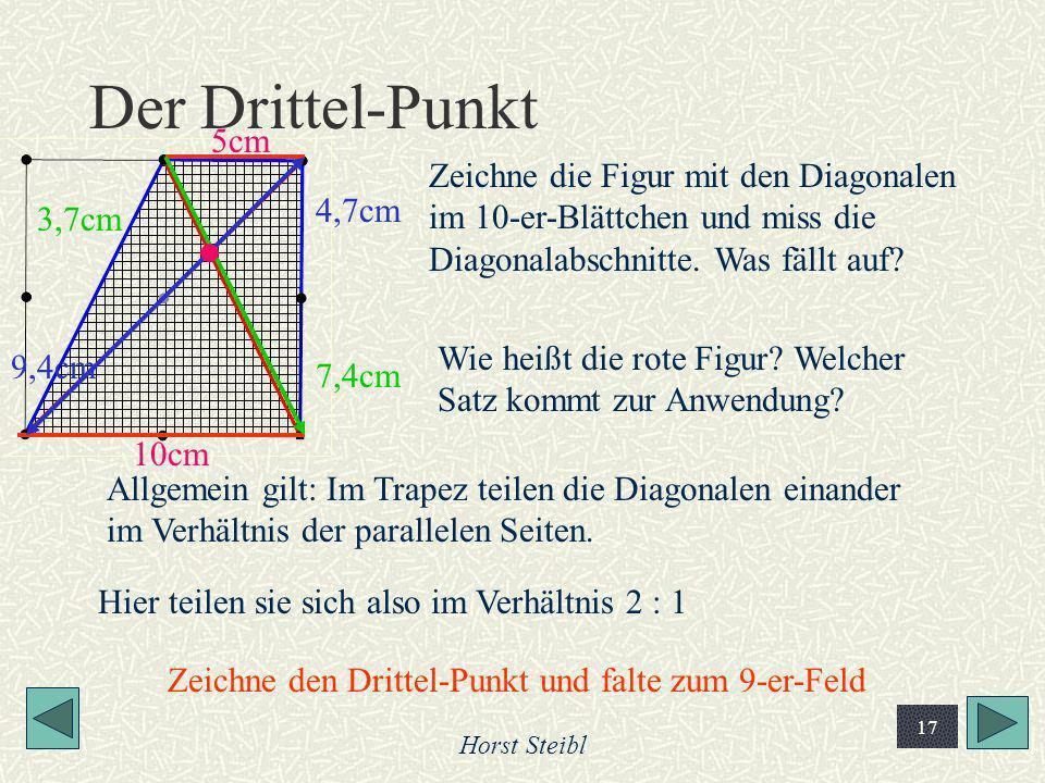 Horst Steibl 17 Der Drittel-Punkt Zeichne die Figur mit den Diagonalen im 10-er-Blättchen und miss die Diagonalabschnitte. Was fällt auf? 9,4cm 4,7cm