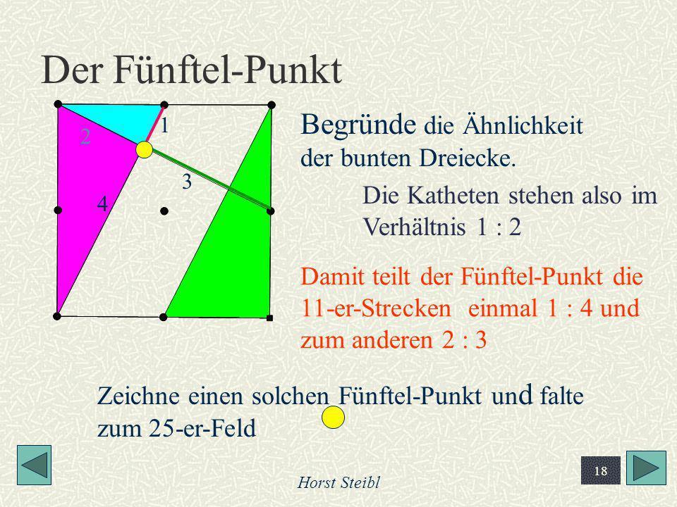 Horst Steibl 18 Der Fünftel-Punkt Begründe die Ähnlichkeit der bunten Dreiecke. 1 2 4 3 Die Katheten stehen also im Verhältnis 1 : 2 Damit teilt der F