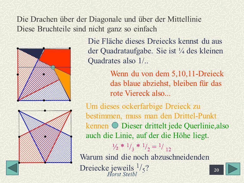 Horst Steibl 20 Die Drachen über der Diagonale und über der Mittellinie Diese Bruchteile sind nicht ganz so einfach Die Fläche dieses Dreiecks kennst