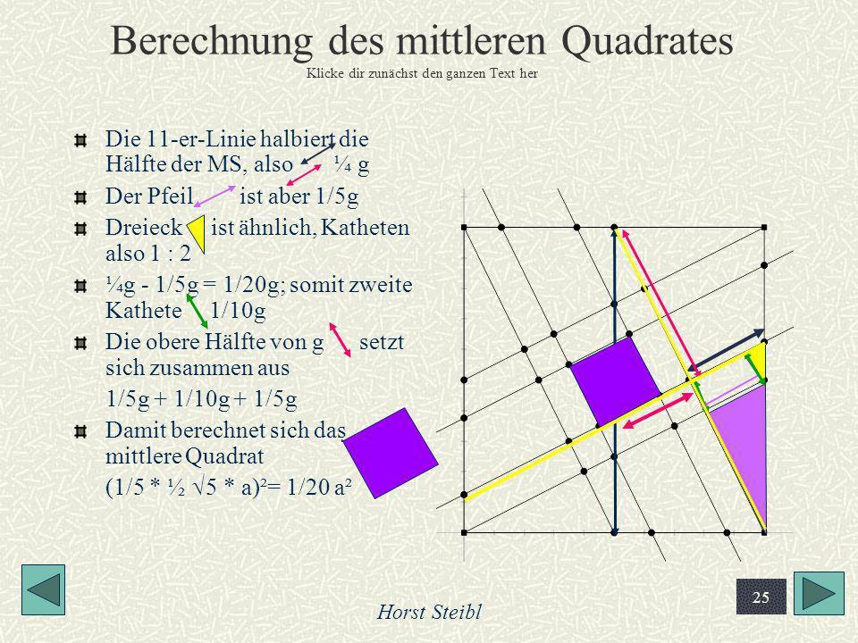 Horst Steibl 25 Berechnung des mittleren Quadrates Klicke dir zunächst den ganzen Text her Die 11-er-Linie halbiert die Hälfte der MS, also ¼ g Der Pf