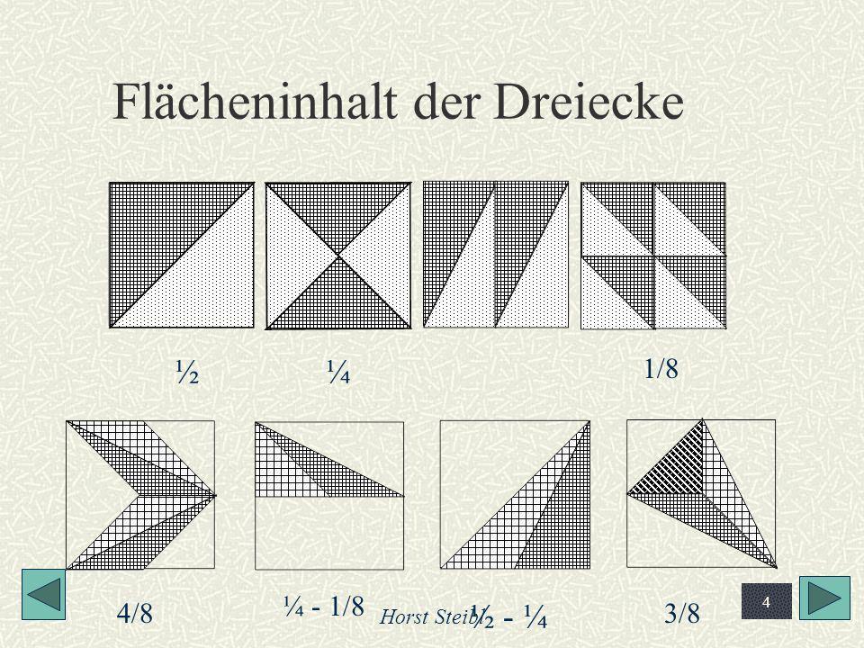 Horst Steibl 25 Berechnung des mittleren Quadrates Klicke dir zunächst den ganzen Text her Die 11-er-Linie halbiert die Hälfte der MS, also ¼ g Der Pfeil ist aber 1/5g Dreieck ist ähnlich, Katheten also 1 : 2 ¼g - 1/5g = 1/20g; somit zweite Kathete 1/10g Die obere Hälfte von g setzt sich zusammen aus 1/5g + 1/10g + 1/5g Damit berechnet sich das mittlere Quadrat (1/5 * ½ 5 * a)²= 1/20 a²