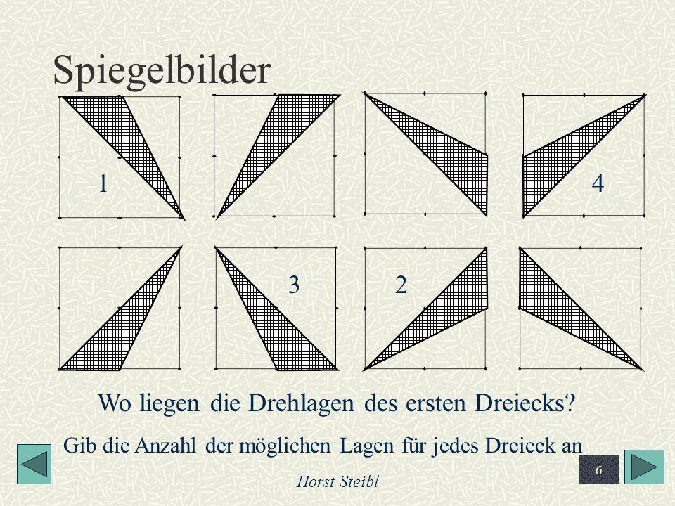 Horst Steibl 6 Spiegelbilder Wo liegen die Drehlagen des ersten Dreiecks? 1 23 4 Gib die Anzahl der möglichen Lagen für jedes Dreieck an