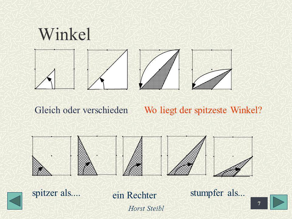 Horst Steibl 7 Winkel Gleich oder verschiedenWo liegt der spitzeste Winkel? spitzer als.... ein Rechter stumpfer als...