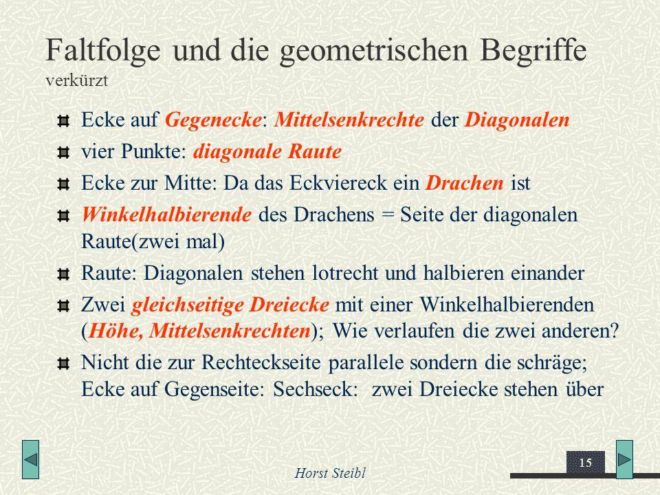 Horst Steibl 15 Faltfolge und die geometrischen Begriffe verkürzt Ecke auf Gegenecke: Mittelsenkrechte der Diagonalen vier Punkte: diagonale Raute Eck